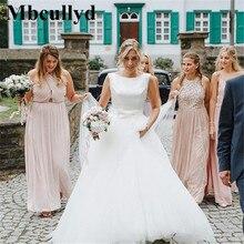 Mbcullyd Boho Gelinlik 2019 Zarif Saten Ve Tül Uzun Kat Uzunluk gelinlik Artı Boyutu A Line vestido de noiva