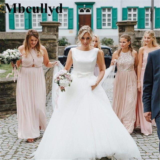Mbcullyd Boho Trouwjurken 2019 Elegant Satijn En Tulle Lange Floor Lengte Bruid Jurk Plus Size A lijn vestido de noiva