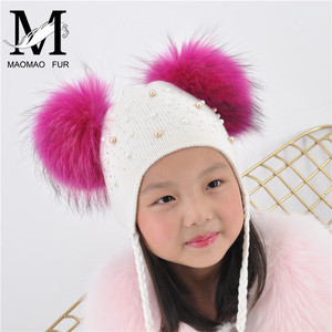 Image 5 - Kids Warm Winter Caps Double Fur Pom Pom Beanie Wool Knitted Hat For Baby Boys Girls Real Raccoon Fur Balls Beanie Cap Bonnet