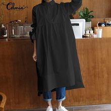 Vintage Casual Long Sleeve Pleated Midi Dress Celmia 2019 Autumn Loose Solid Buttons Irregular Hem Plus Size Vestidos