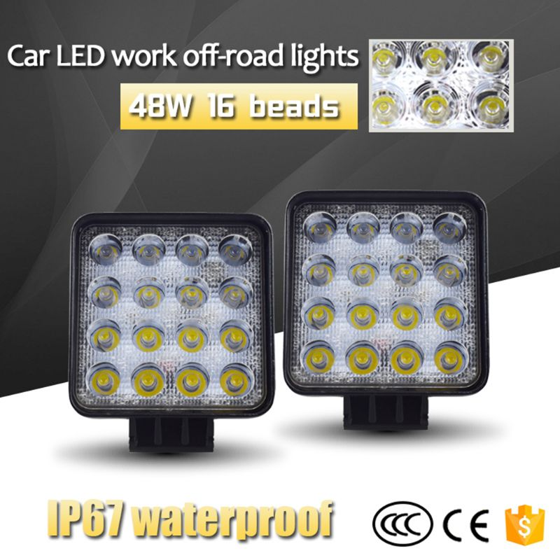 Image 3 - New 48W Vehicel Headlights 16LEDs Cool White Light Bar 4inch Vehicle Work Light LED Truck For SUV qyh-in Light Bar/Work Light from Automobiles & Motorcycles
