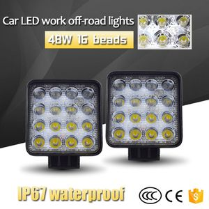 Image 3 - Nuevos faros de vehículos de 48W, 16LEDs, barra de luz blanca fría, 4 pulgadas, luz LED de trabajo para vehículos, camión para SUV qyh