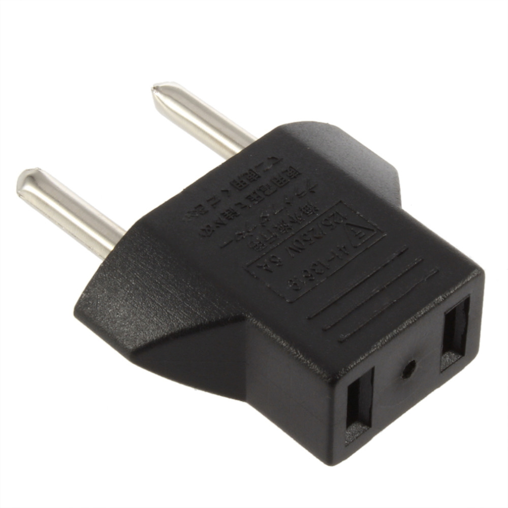 EU adapter plug 2 pin to EU 2 round pin plug socket Travel Converter New Black Input AC 2.5V~250V 10A