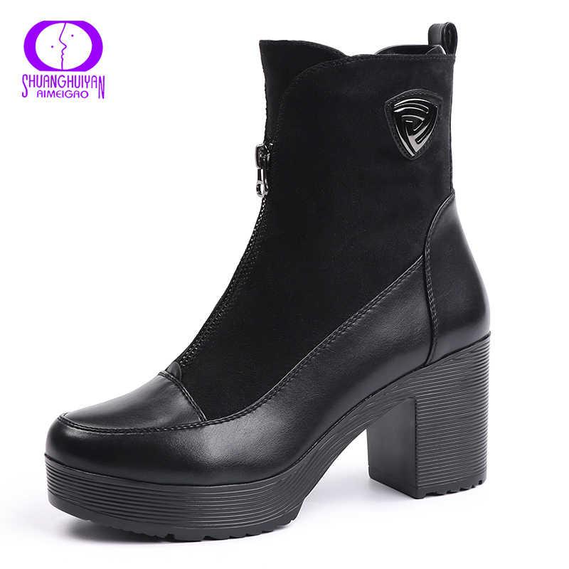 Sıcak satış süet deri çizmeler yumuşak deri kadın yarım çizmeler kalın yüksek topuk çizmeler seksi kadın platformu botları sonbahar ve bahar