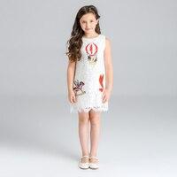 Kids Girls Clothing Summer Girl Dress Cartoon Trojan Horse Pattern Princess Dress White Lace Vest Dress