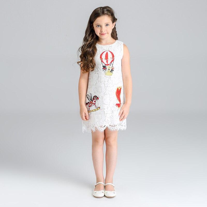 Kids Girls Clothing Summer Girl Dress Cartoon Trojan Horse Pattern Princess Dress White Lace Vest Dress Cute Children Clothes