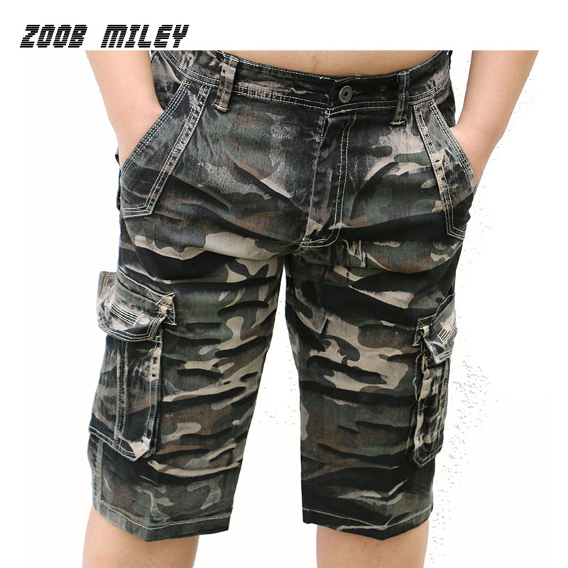 Summer Mens Baggy Cargo Shorts Cotton Loose Fit Outdoor Causal Workout Military Camouflage Short Pants Knee Length Plus Size