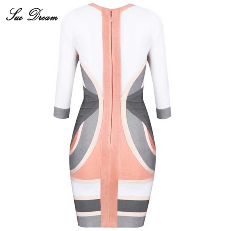 Women Summer Dresses 2017 new O-Neck Fashion patchwork bandage dreess Wholesale Mide Sleeve Sexy Bodycon Celebrity Party Dress