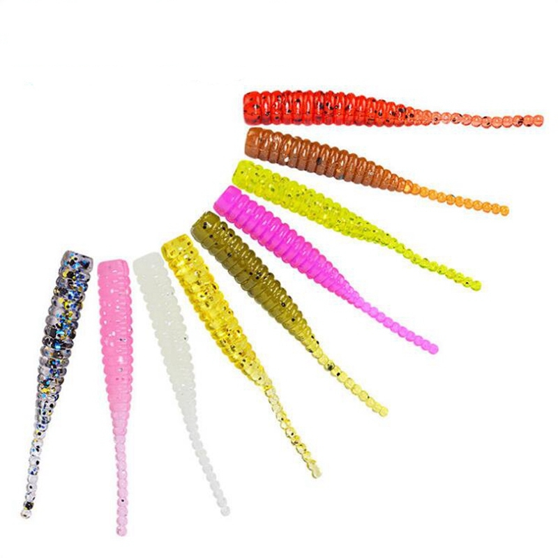 0.7g 40mm 15pcs/Lot Small Soft Worm Lure Fishing Multicolor Tenebrio Molitor Artificial Bait Weever  Soft Fishing Lure Worm
