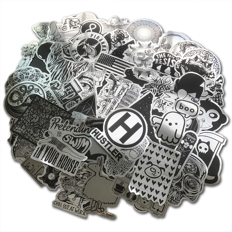 52PCS Metallic Black And White Sticker Holo Punk Funny Cool Sticker For DIY Laptop Motorcycle Bicycle Guitar Suitcase Skateboard