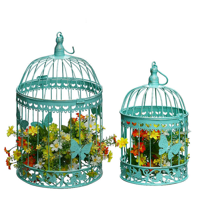 wrought iron decoration cage furnishing articles, white wedding bird cage window  fleshy floral cage decorations
