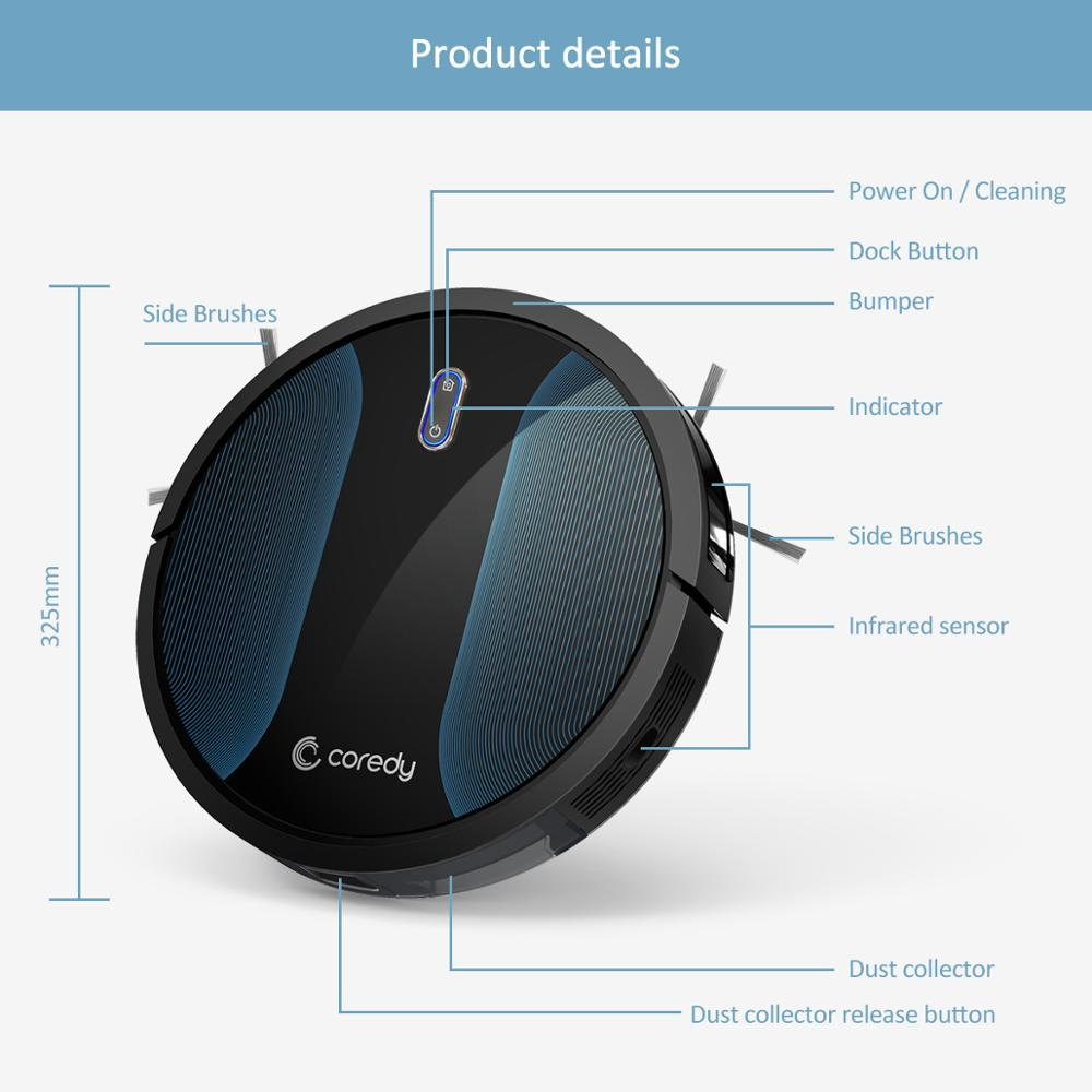 Coredy R500+ Smart Clean Robot Vacuum Cleaner Dust Water Tank Mop Carpet Hair Cleaners Sweeping aspirador Floor Mopping Robot - 3