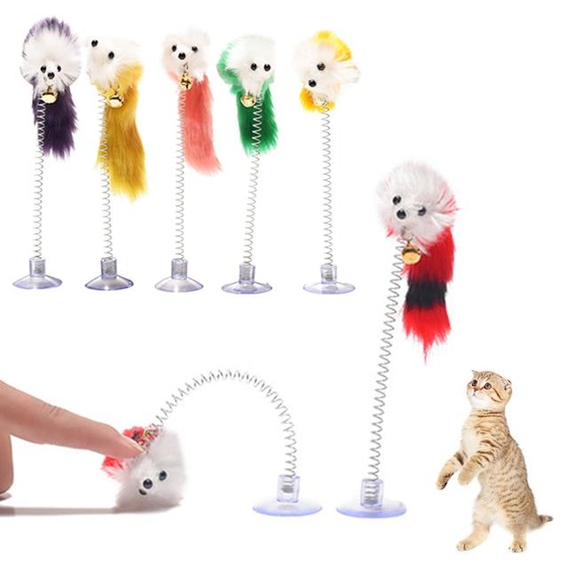 1PC Random Colour Plastic Cat Toys Bottom Sucker Elastic Feather Funny Cat Mice Shape 20 x 10cm False Mouse Pet Products