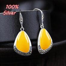 925 ayar gümüş renk Vintage kadın küpe kanca boş taban Fit 11*17mm takı Amber küpe Accessorirrings aksesuarları