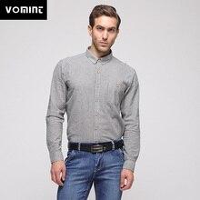 Vomint 2018 Frühling Marke Neue Männer der Baumwolle Shirts Mit Langen  Ärmeln Drehen-unten Kragen 61a61457f4
