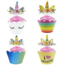 24Pcs 4 styles Unicorn Rainbow Cake Toppers Cupcake Wrappers Birthday Party Cake Decoration Baby Shower Unicorn Party Supplies unicorn cake cupcake wrappers cake toppers baby shower kids unicornio birthday party decorative supplies unicorn party 12pcs