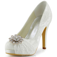 HC1413P White Ivory Evening Women Bridal Evening Party Platforms High Heel Pleat Rhinestones Lace Wedding