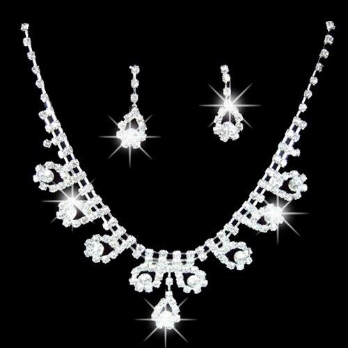 Pendant Necklace Jewelry-Set Rhinestone Romantic Bridal Wedding-Party Women's Earrings