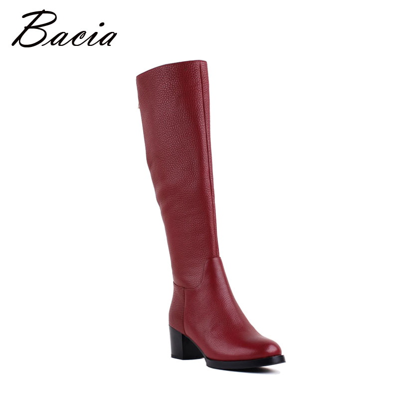 Bacia New Brand Red Fashion Boots Genuine Leather Shoes With Wool Fur High Heels Women Winter Boots Long Motorcycle Boots VB086 2017 new women s genuine leather boots motorcycle boots rough with in tube high heeled boots thick wool really pima ding