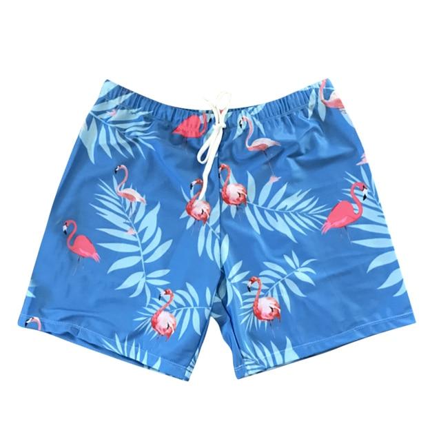 9791086a16c47 CALOFE Sexy Mens Swimsuit Flamingos Print Swim Shorts Loose Swimming Trunks  Beach Short Sport Homme Swimwear