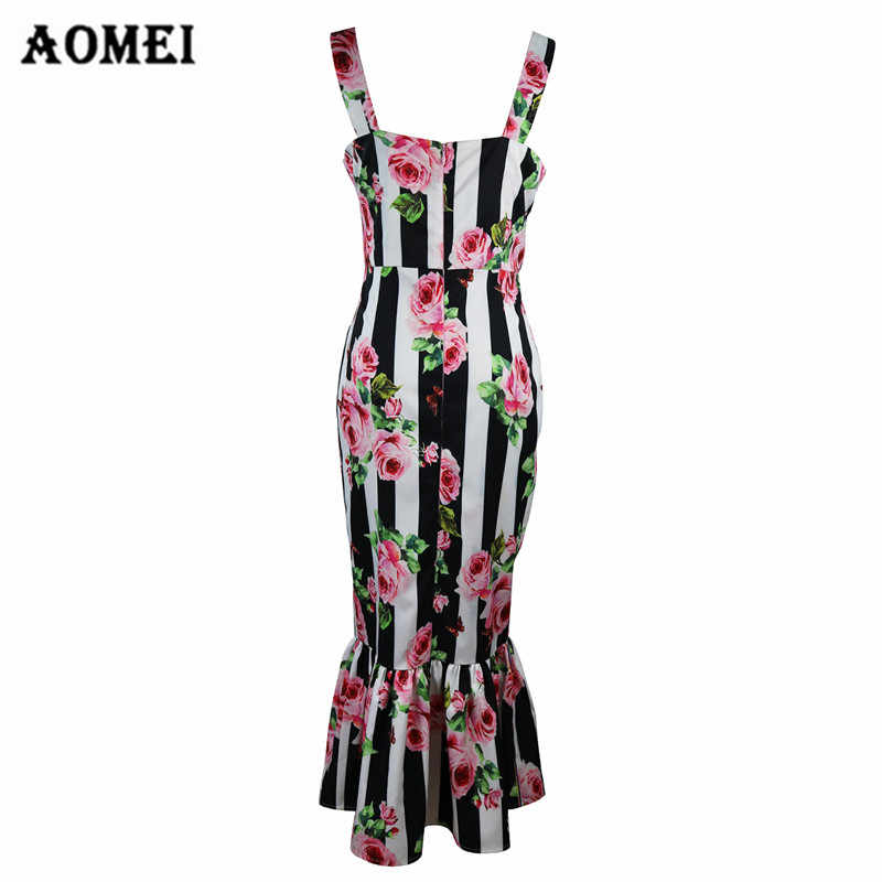 e828e5d6b87 ... Retro Printed Floral Tube Dress for Women Summer Fashion Ruffles 2019  Lady Slim Fit Tight Bodycon ...