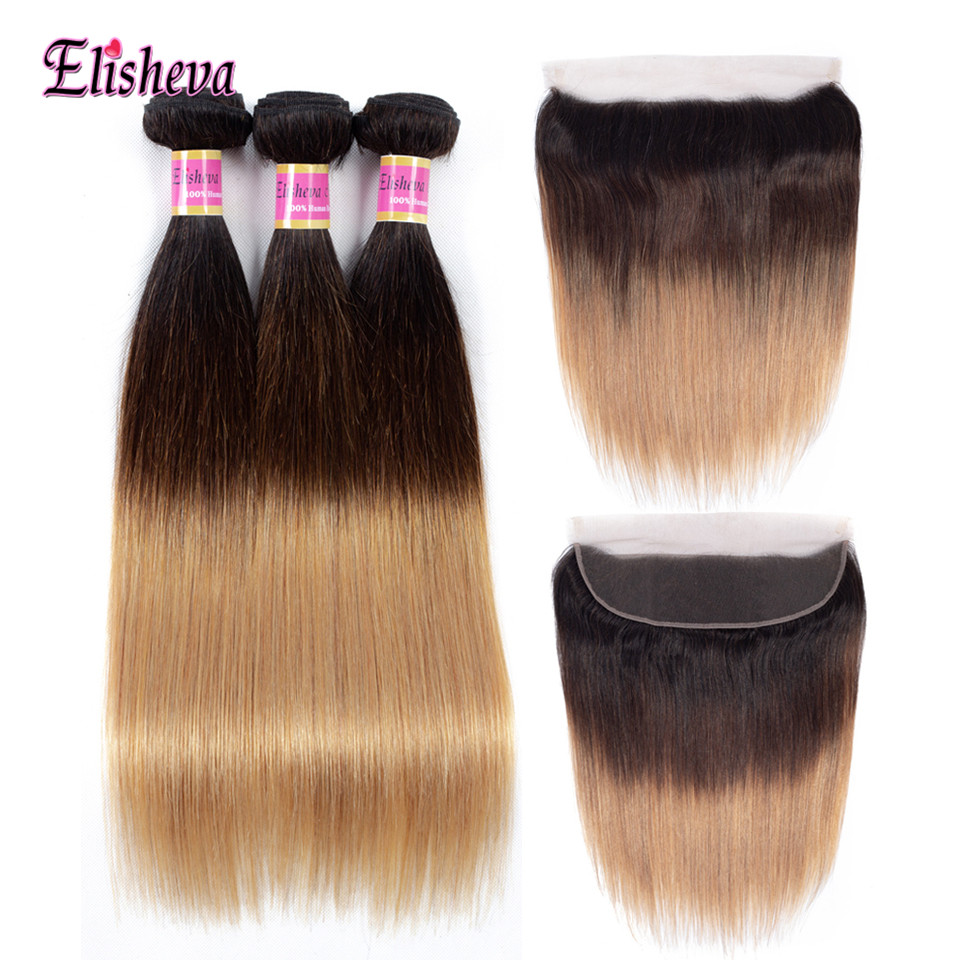 Elisheva Peruvian Straight Hair Ombre Bundles With Frontal 1B 4 27 Non Remy Human Hair Ombre