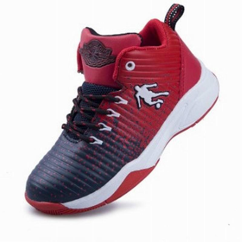 Gyermek kosárlabda cipő 2018 Új érkezési csúcsminőségű gyári közvetlen gyerekcipők fiú és lányok sportcipők Méret 25 ~ 36