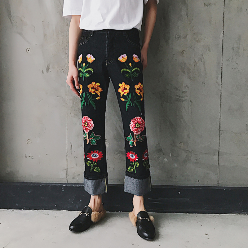 Men Straight Embroidered Flowers Jeans Fashion Show Men Women Denim Pant Male Long Jean Trousers
