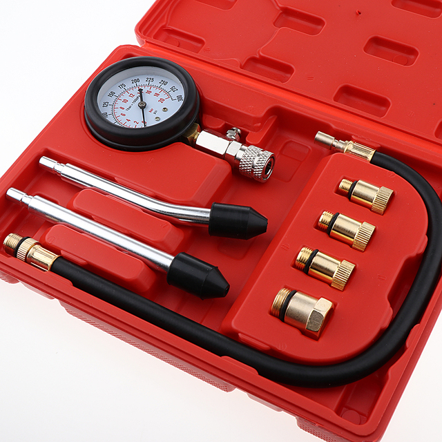 8pcs High Precision Spark Plug Cylinder Compression Tester Test Kit Professional Gas Engine Gauge Tool with Box Automotive Tool