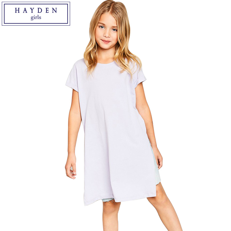 HAYDEN Girls T Shirt Dress with Side Slits Summer 2018 Brand Girls Short Sleeve Midi Length Tunic Dress for Teenagers 7 to 14 long sleeve bodycon dress with slits