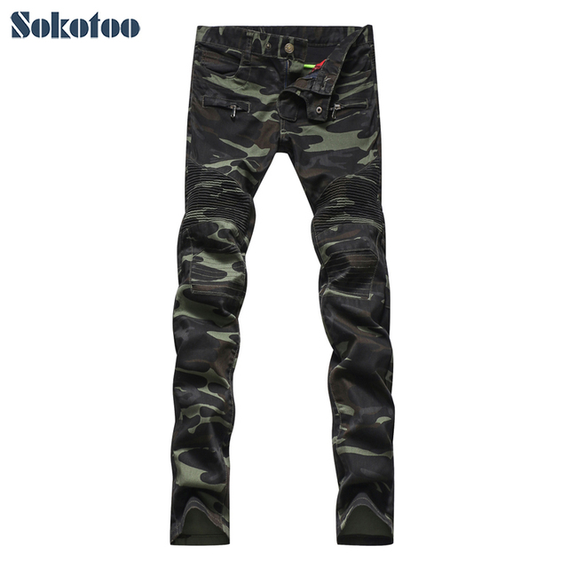Uomo Army Stile Biker Jeans Green Moda Sokotoo Militare Camouflage T65wxH