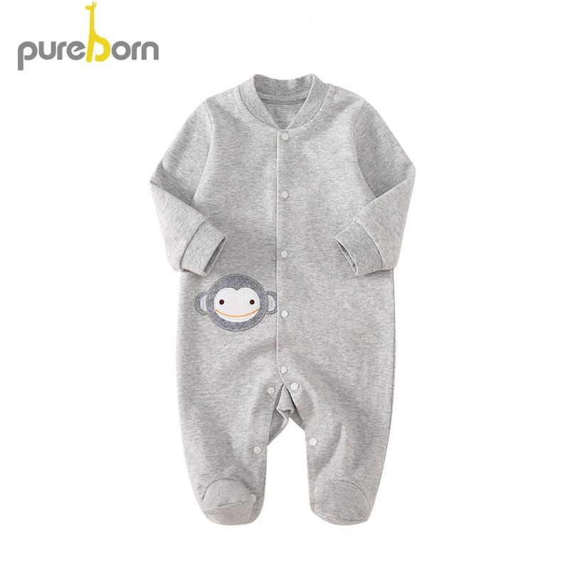 Zielsetzung Pureborn Neugeborenen 100% Baumwolle Footies Für Baby Jungen Und Mädchen Frühling Overalls Outwear Nachtwäsche Cartoon Tier Kleidung Hochwertige Materialien