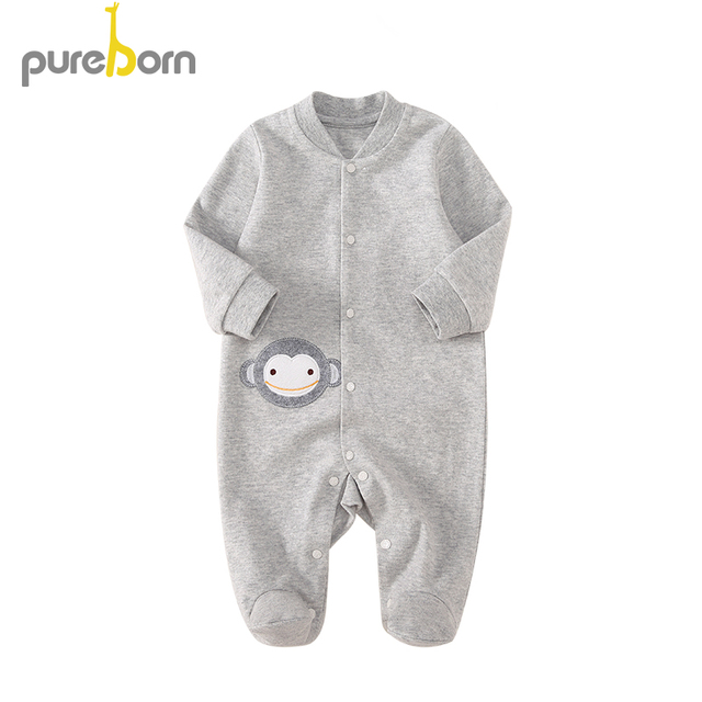 Pureborn Newborn Infant 100% Cotton Footies for Baby Boys and Girls Spring Coveralls Outwear Sleepwear Cartoon Animal Clothes