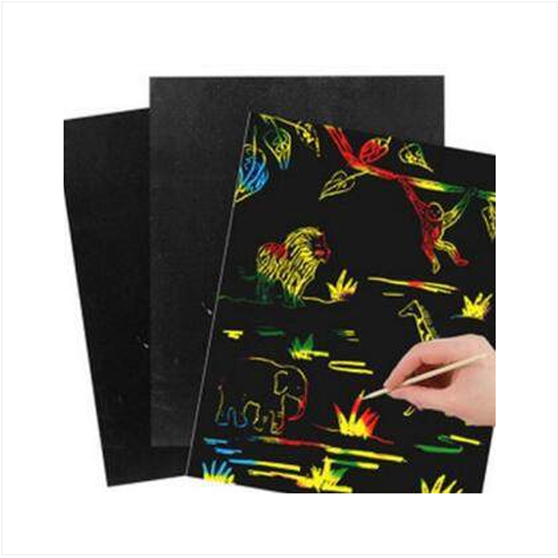 20pcs free shipping Hot Sale Scraping Drawing Paper Painting Scratch Art Paper Coloring Cards Scraping Drawing Toys for Children