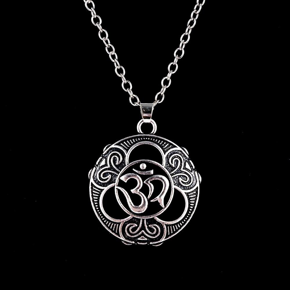 Fashion Yoga Pendant Necklace Ancient Silver Zen Buddha Buddhism  Vintage Jewelry Gift