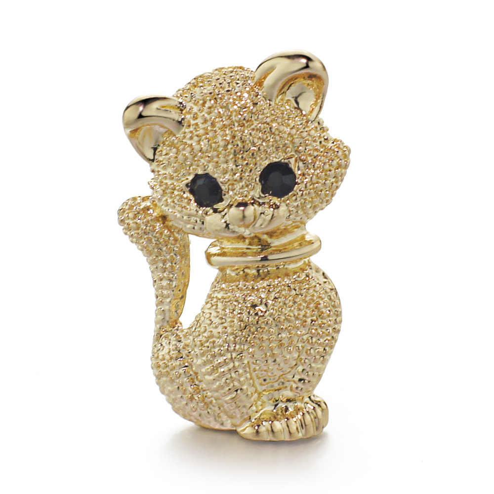 Gato Pequeno bonito Broches de Ouro Cor Para Homens Animais Cachecol Broche Pinos Colarinho das Mulheres Jóias De Alta Qualidade Presente DZ070
