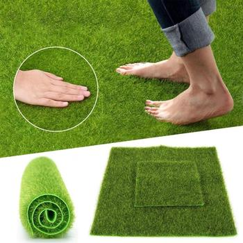 1pc Synthetic Creative Plastic Artificial Grass Mat Turf Lawn Garden Landscape Ornament Home Room Dollhouse Decor image