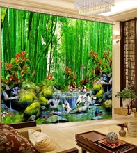 Пользовательские любого размера Лучшие Классические весна зеленый пейзаж Мода Заказной весна пейзаж украшения для дома пользовательских шторы