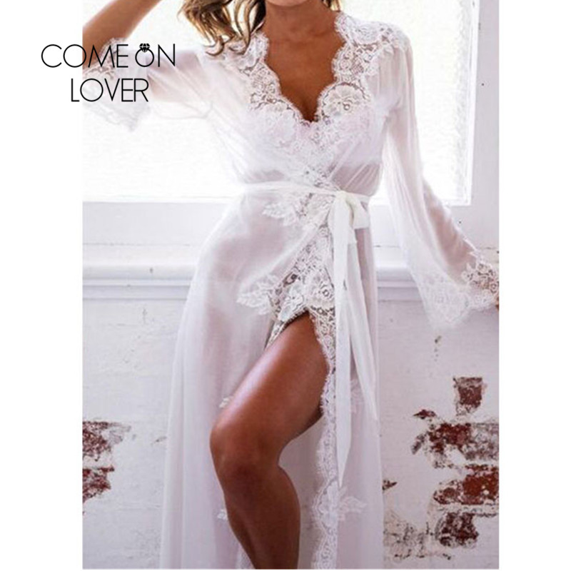 Comeonlover Dessous Sexy Transparent Sleepwear Gown Langerie Sexy Plus Size 5XL Long Lace Nightgowns Lingerie Robe RI80507