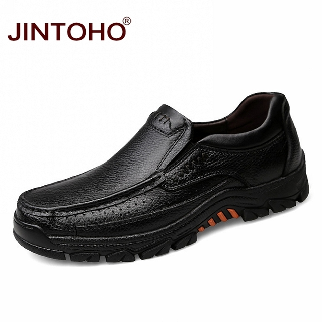 JINTOHO High Quality Genuine Leather Men Dress Shoes Black Leather Formal Shoes Business Dress Shoes Slip On Men Loafers Hiking & Mountain Climbing