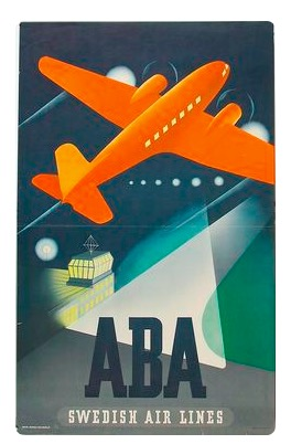 Scandinavian Airlines Flights to Copenhagen Poster A3 Print