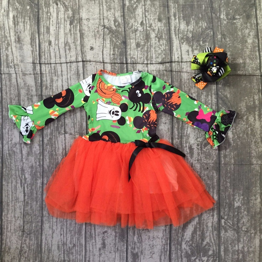 new baby girls Halloween dress children girls ghost with orange chiffon dress baby girl minnie Halloween party dress with bows scoop neck halloween ghost print dress