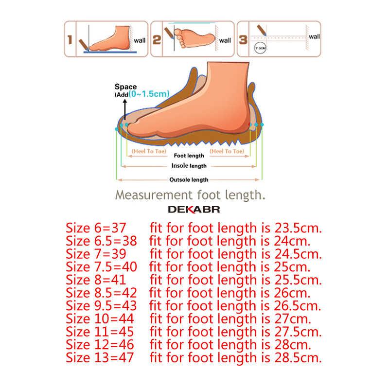 DEKABR ผู้ชายรองเท้าหนังแท้รองเท้าสบายๆสบายๆรองเท้าส้นเตี้ยรองเท้าผู้ชายลื่นขี้เกียจรองเท้า Zapatos Hombre
