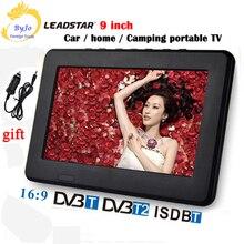LEADSTAR D9 9 дюймов светодиодный ТВ цифровой плеер DVB-T T2 аналоговый все в одном мини ТВ Поддержка USB TF ТВ программы автомобильное зарядное устройство подарок