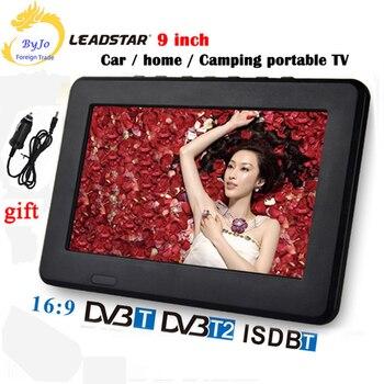 LEADSTAR D9 9 pouces LED TV lecteur numérique DVB-T T2 analogique tout en un MINI Support TV USB TF programmes TV chargeur de voiture cadeau