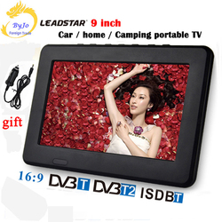 LEADSTAR -9 inch LED TV digital player DVB-T/T2/Analog all in one MINI TV Support USB/TF&TV programs Car charger gift