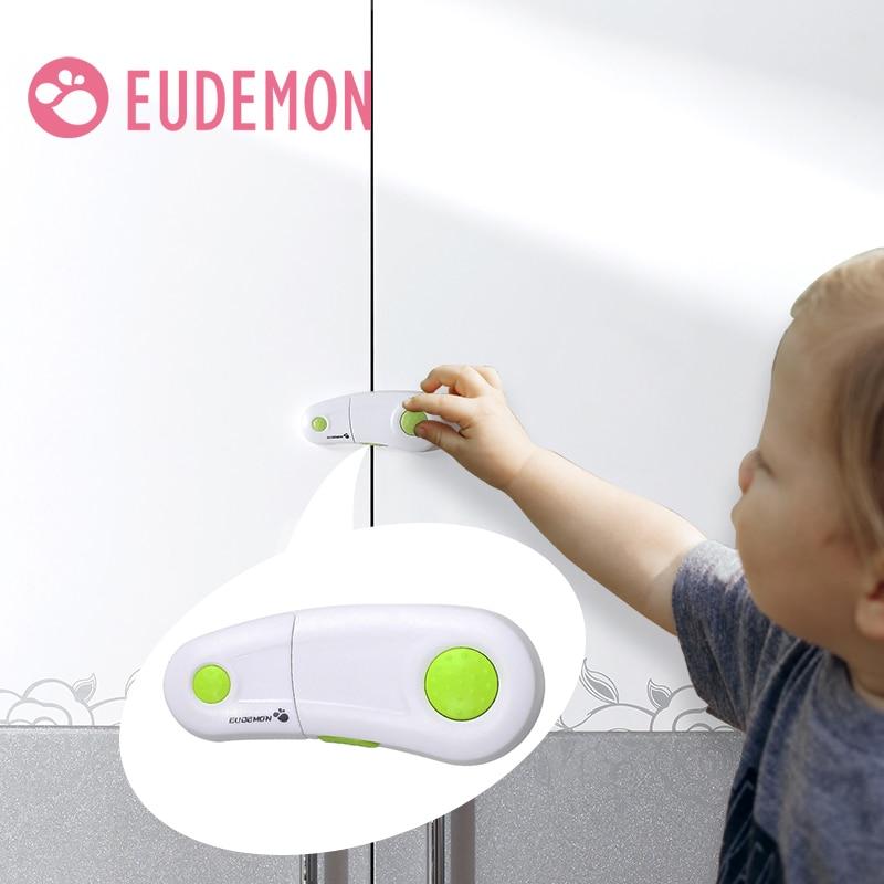 EUDEMON 4pcs/lot Baby Drawer Lock Todder Child Kids Door Drawers Wardrobe Cabinet Safety Care Protect Plastic Lock Green Blue