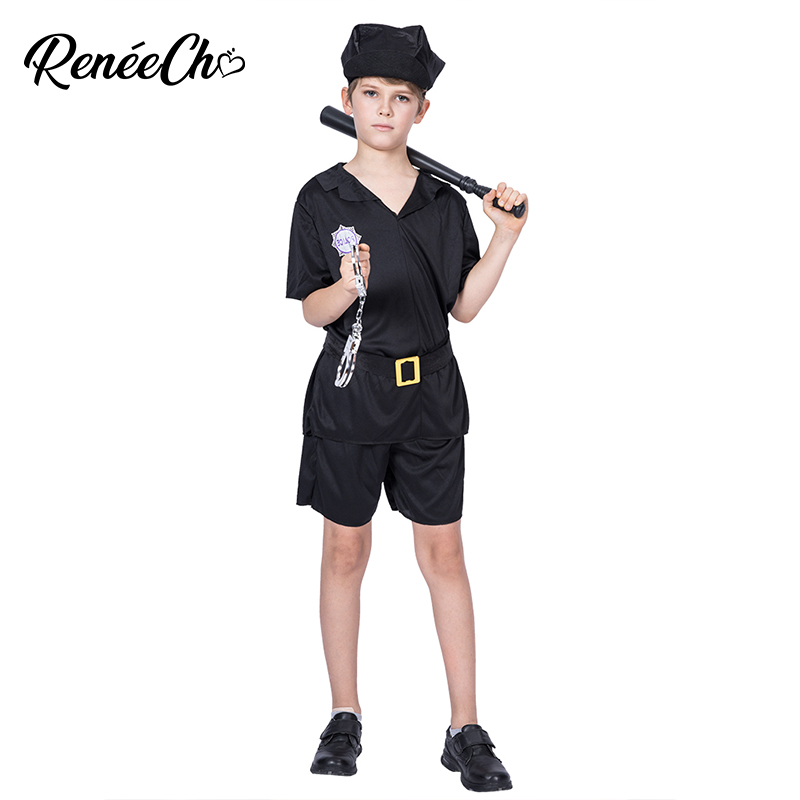 Halloween Costume For Kids Child Prison Guard Costume Boys Police Officer Costume Kids Cop Cosplay 2018 Carnaval Christmas Party
