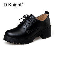 Women Genuine Leather Casual Flat Shoes Ladies Casual Lace Up Platform Oxfords Shoes Vintage England Cow