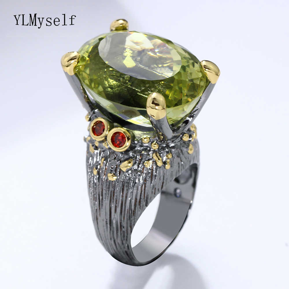 2019 new beautiful large Oval green crystal ring Trendy jewellery dropshipping high quality jewelry big rings for women